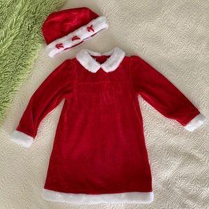 Little Legends Red White Velour Santa Dress & Hat